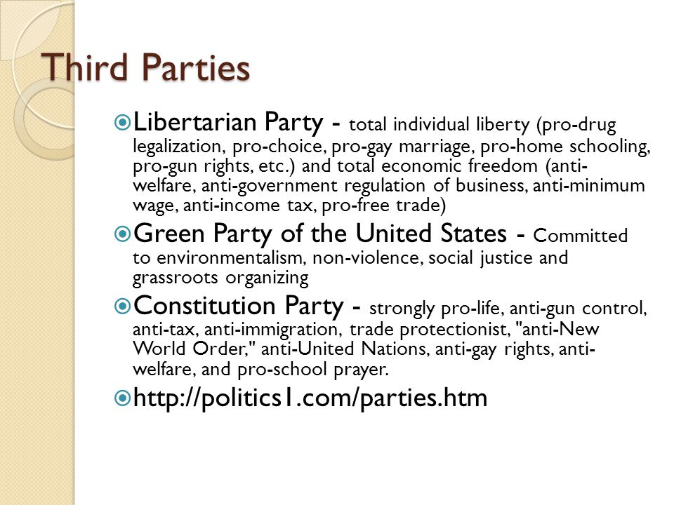 Third Parties  Libertarian Party - total individual liberty (pro-drug legalization, pro-choice, pro-gay marriage, pro-home schooling, pro-gun rights,
