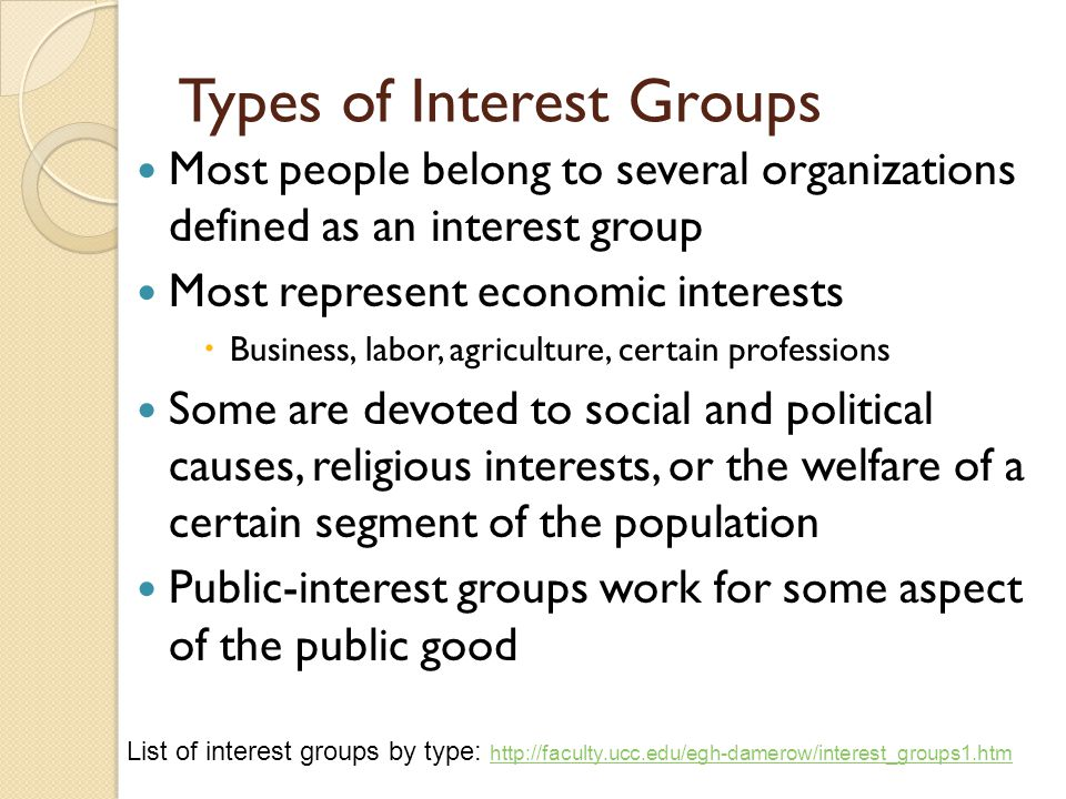 Types of Interest Groups Most people belong to several organizations defined as an interest group Most represent economic interests  Business, labor,