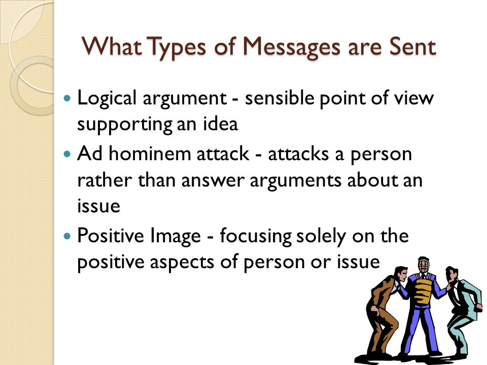 What Types of Messages are Sent Logical argument - sensible point of view supporting an idea Ad hominem attack - attacks a person rather than answer a