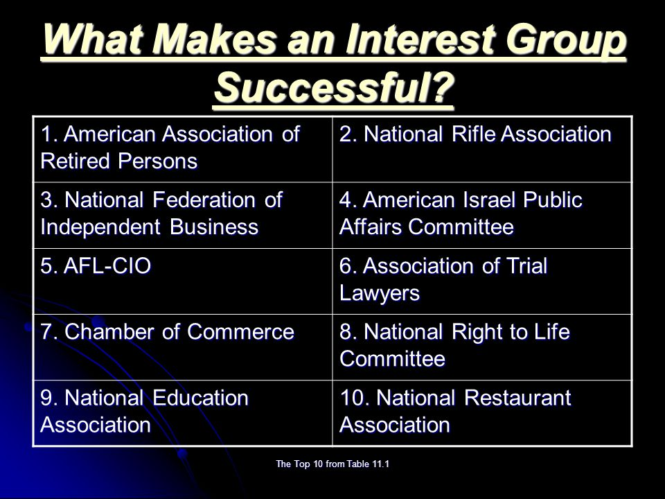 The Top 10 from Table 11.1 What Makes an Interest Group Successful.