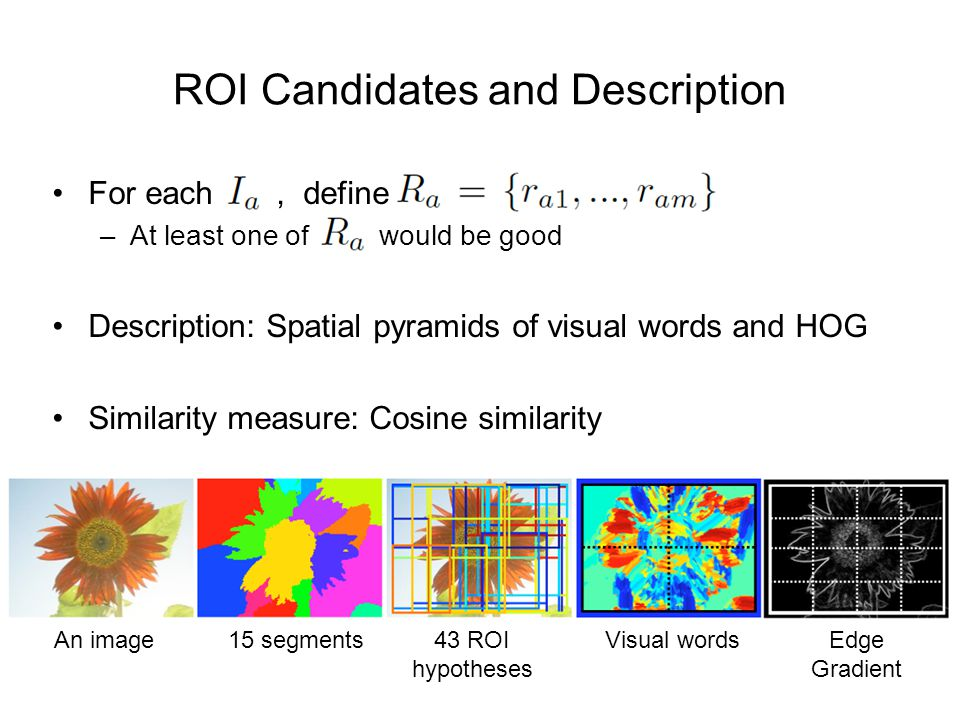 ROI Candidates and Description For each, define –At least one of would be good Description: Spatial pyramids of visual words and HOG Similarity measure: Cosine similarity An image15 segments43 ROI hypotheses Visual wordsEdge Gradient