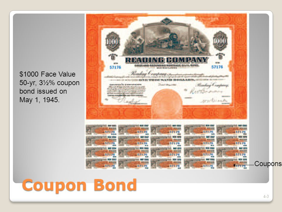 Coupon Bond A type of loan: ◦Interest paid during the life of the loan ◦Loan repaid at maturity Coupon Rate: the annual interest the borrower pays (i c ) Maturity Date: when the payments stop and the loan is repaid (n) Principal: the final payment (F) 4-4