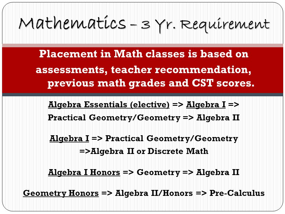 Placement in Math classes is based on assessments, teacher recommendation, previous math grades and CST scores.