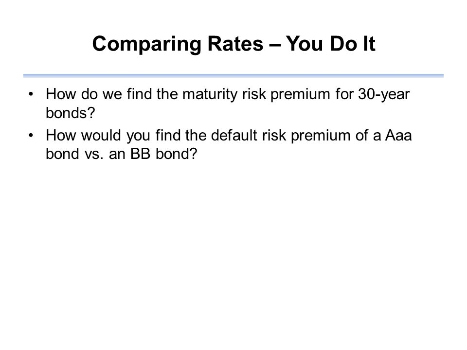 Comparing Rates – You Do It How do we find the maturity risk premium for 30-year bonds.