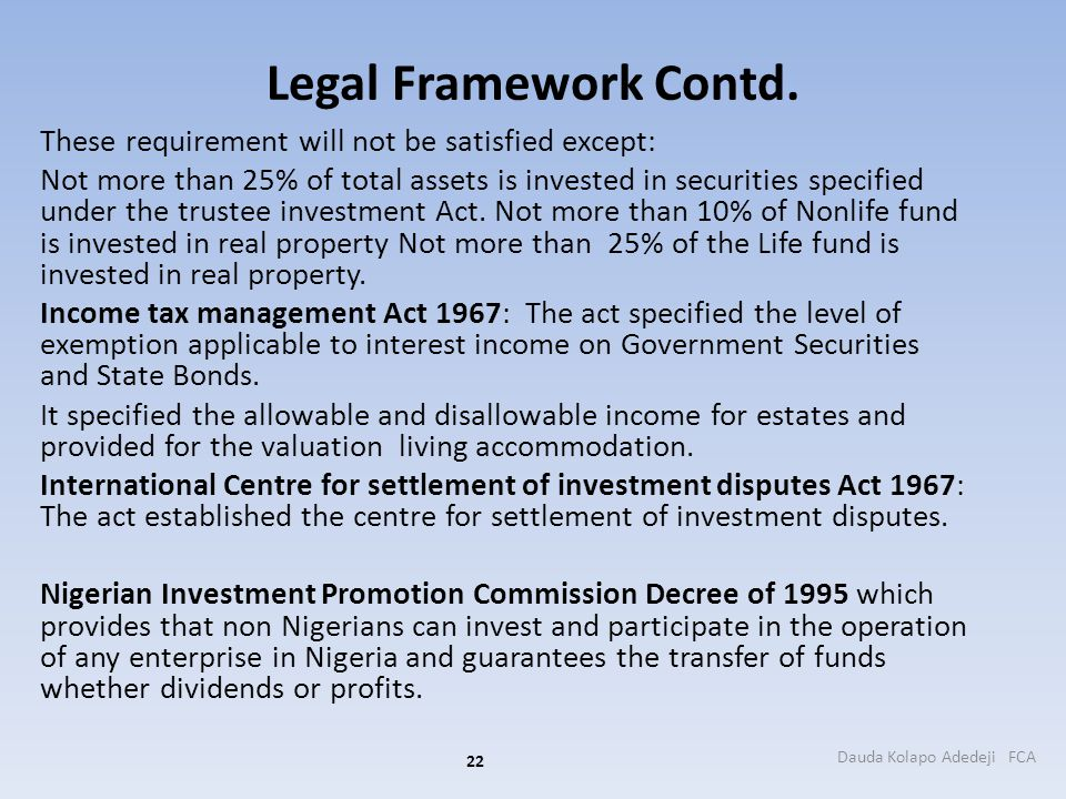 Legal Framework Contd. These requirement will not be satisfied except: Not more than 25% of total assets is invested in securities specified under the