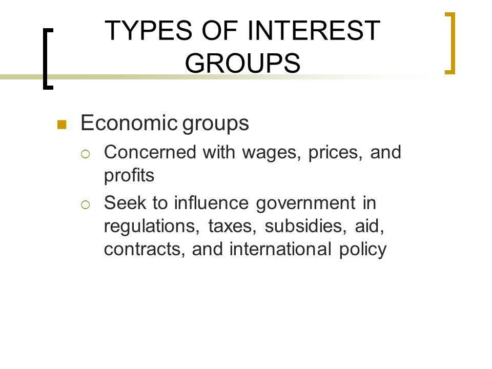 TYPES OF INTEREST GROUPS Economic groups  Concerned with wages, prices, and profits  Seek to influence government in regulations, taxes, subsidies, aid, contracts, and international policy