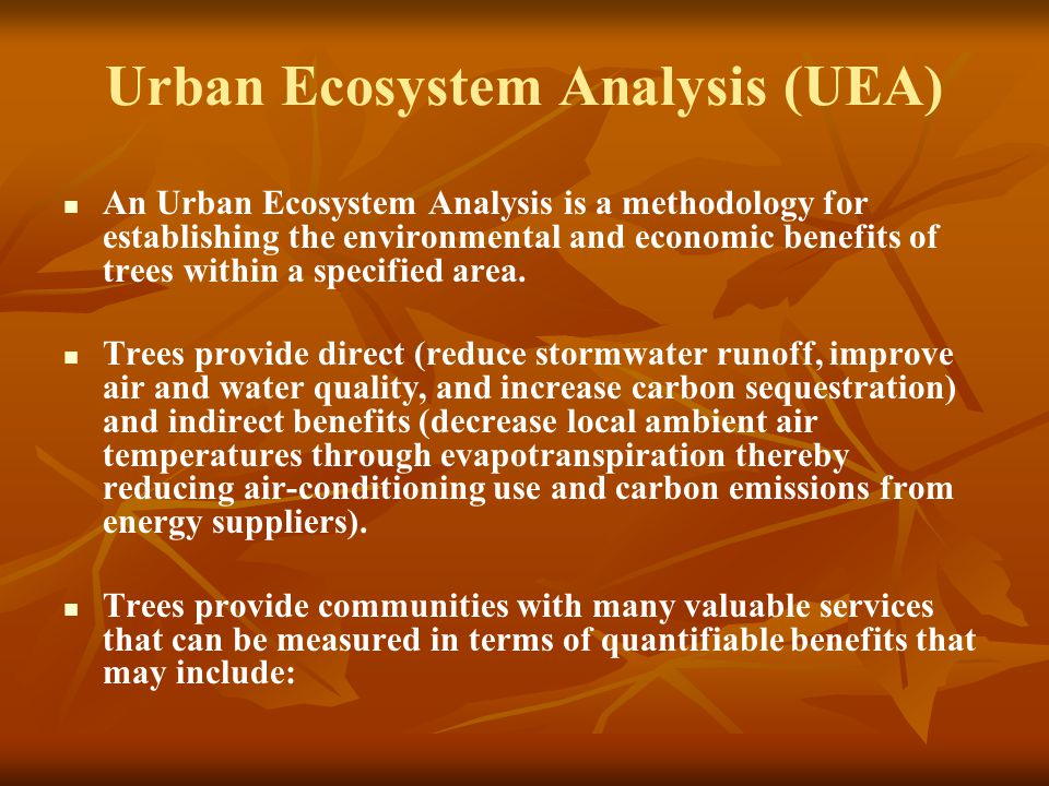 Urban Ecosystem Analysis (UEA) An Urban Ecosystem Analysis is a methodology for establishing the environmental and economic benefits of trees within a specified area.