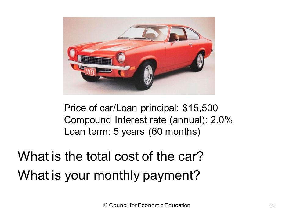 What is the total cost of the car.What is your monthly payment.