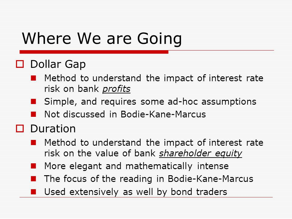 Where We are Going  Dollar Gap Method to understand the impact of interest rate risk on bank profits Simple, and requires some ad-hoc assumptions Not discussed in Bodie-Kane-Marcus  Duration Method to understand the impact of interest rate risk on the value of bank shareholder equity More elegant and mathematically intense The focus of the reading in Bodie-Kane-Marcus Used extensively as well by bond traders