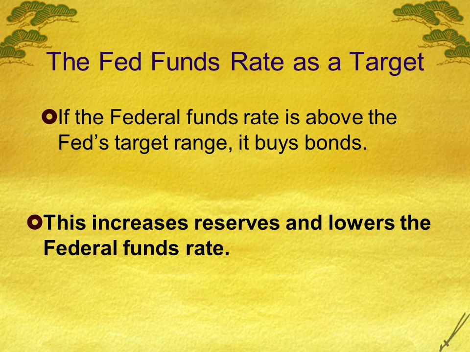 The Fed Funds Rate as a Target  If the Federal funds rate is above the Fed's target range, it buys bonds.