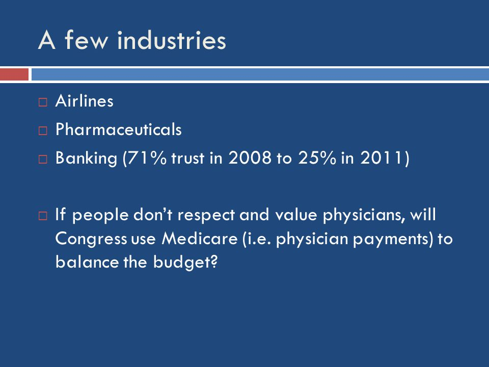 A few industries  Airlines  Pharmaceuticals  Banking (71% trust in 2008 to 25% in 2011)  If people don't respect and value physicians, will Congress use Medicare (i.e.