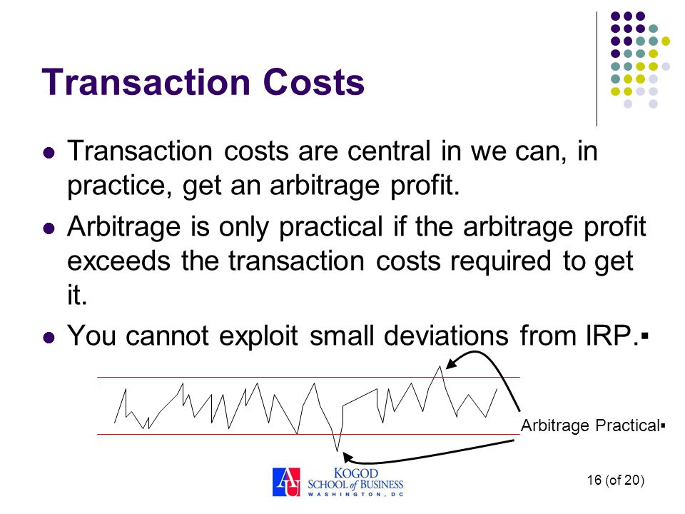 16 (of 20) Transaction Costs Transaction costs are central in we can, in practice, get an arbitrage profit. Arbitrage is only practical if the arbitra