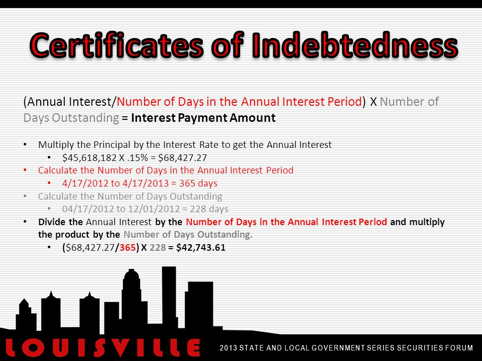 2013 STATE AND LOCAL GOVERNMENT SERIES SECURITIES FORUM Calculation for Accrued Interest on Early Redemption: AI = [(Number of Days in the Semi-Annual Period Containing the Redemption Date – Number of Days from Early Redemption Date to Next Interest Payment Date)/ Number of Days in the Semi-Annual Period Containing the Redemption Date] X (Annual Interest/2)