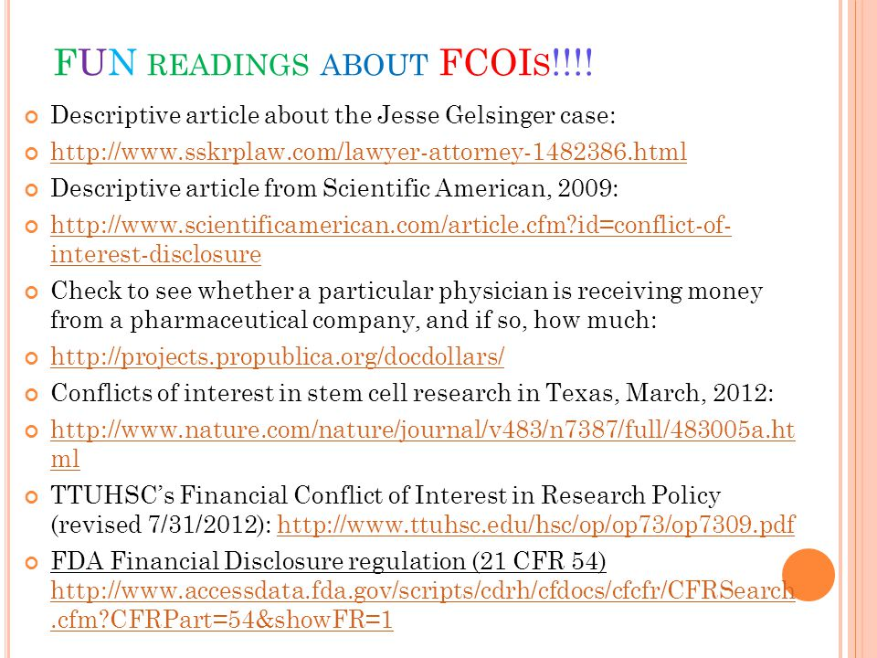 FUN READINGS ABOUT FCOI S !!!.