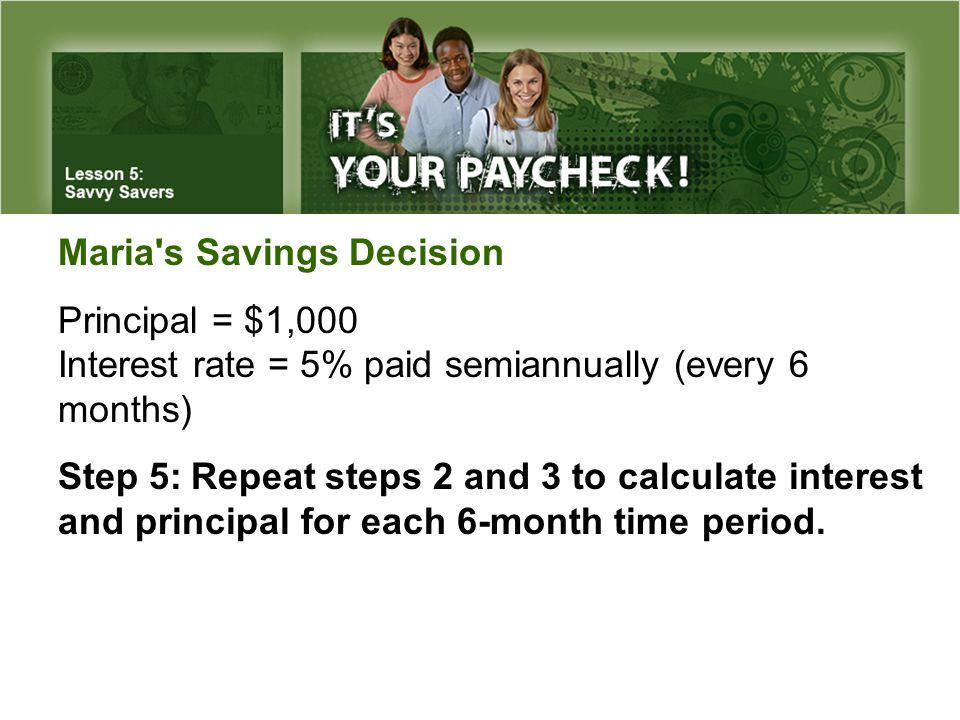 Maria's Savings Decision Principal = $1,000 Interest rate = 5% paid semiannually (every 6 months) Step 5:Repeat steps 2 and 3 to calculate interest an