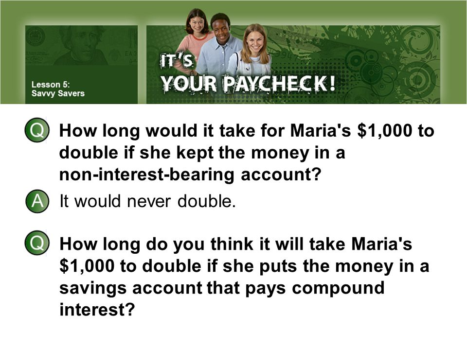 How long would it take for Maria's $1,000 to double if she kept the money in a non-interest-bearing account? It would never double. How long do you th