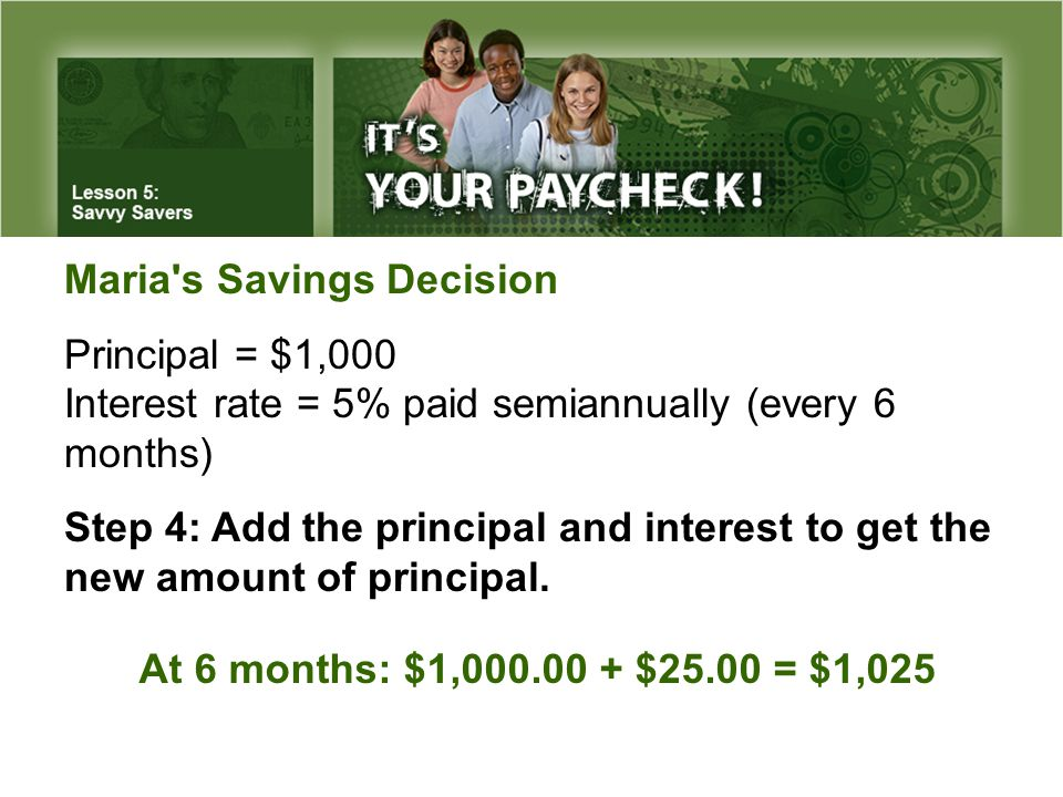 Maria s Savings Decision Principal = $1,000 Interest rate = 5% paid semiannually (every 6 months) Step 4:Add the principal and interest to get the new amount of principal.