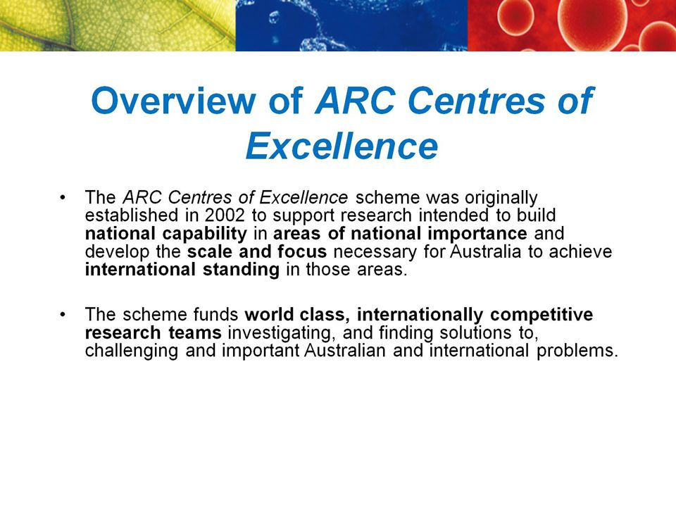 ARC Centres of Excellence $1–4 m a year for up to seven years HCA Centres Creative Industries and Innovation History of Emotions Dynamics of Language Policing and Security (HCA/SBE) Investment in excellence for the longer term