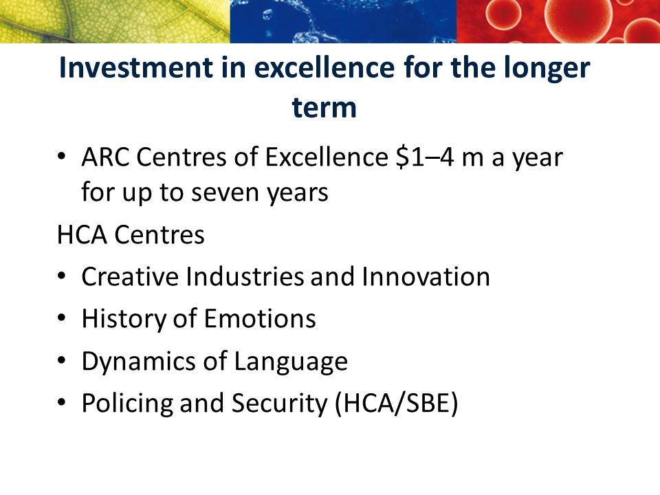 The ARC Centres of Excellence—objectives highly innovative and potentially transformational research that aims to knowledge; interdisciplinary, collaborative approaches to develop relationships and build new networks build Australia's human capacity in a range of; postgraduate and postdoctoral training large-scale problems over longer periods of points of interaction between unis, business, government, private sector