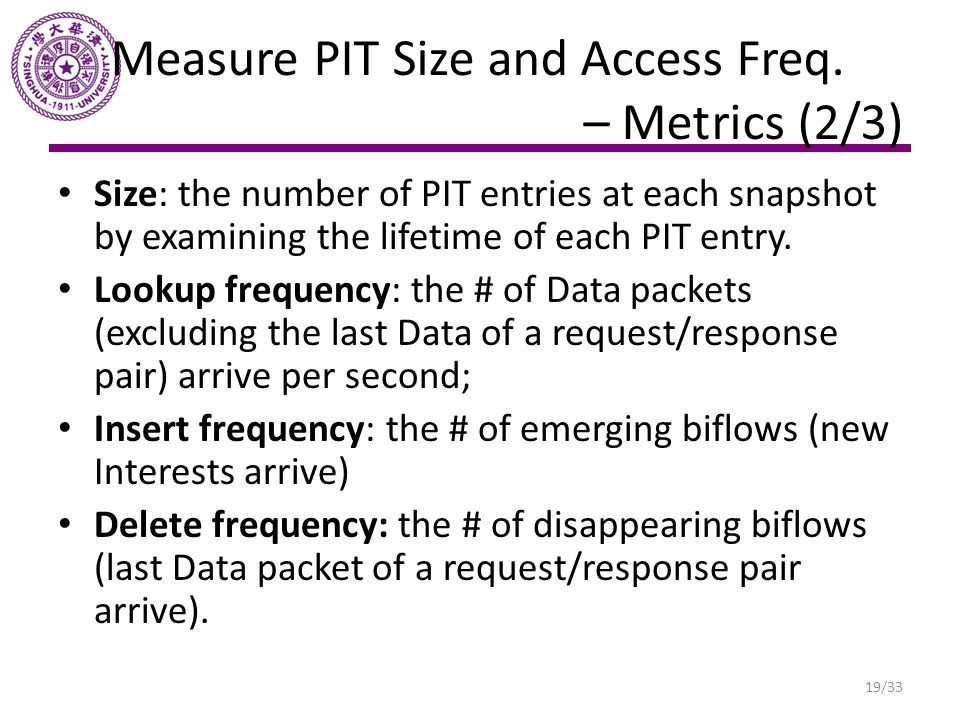Measure PIT Size and Access Freq. – Metrics (2/3) Size: the number of PIT entries at each snapshot by examining the lifetime of each PIT entry. Lookup