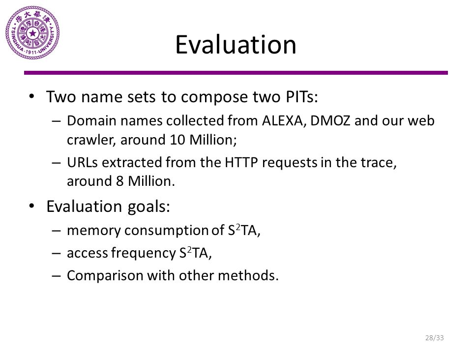 Evaluation Two name sets to compose two PITs: – Domain names collected from ALEXA, DMOZ and our web crawler, around 10 Million; – URLs extracted from