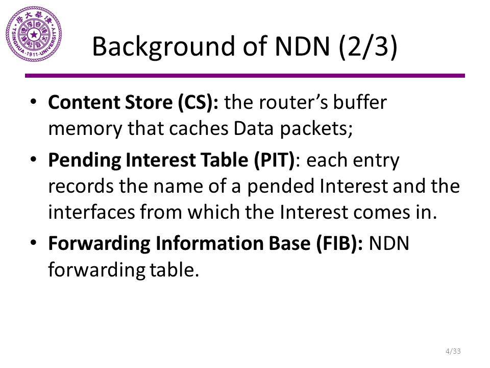 Background of NDN (3/3) Figure: Interest Packet lookup and forwarding process Figure: Data packet lookup and forwarding process Content Store Pending Interest Table Forwarding Information Base 5/33