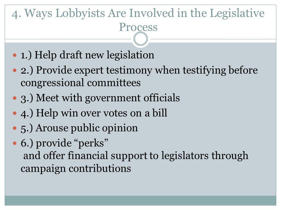 4. Ways Lobbyists Are Involved in the Legislative Process 1.) Help draft new legislation 2.) Provide expert testimony when testifying before congressi