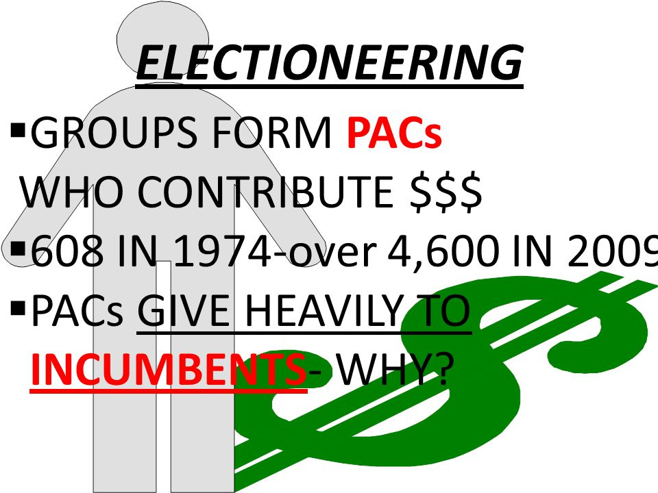 ELECTIONEERING  GROUPS FORM PACs WHO CONTRIBUTE $$$  608 IN 1974-over 4,600 IN 2009  PACs GIVE HEAVILY TO INCUMBENTS- WHY?