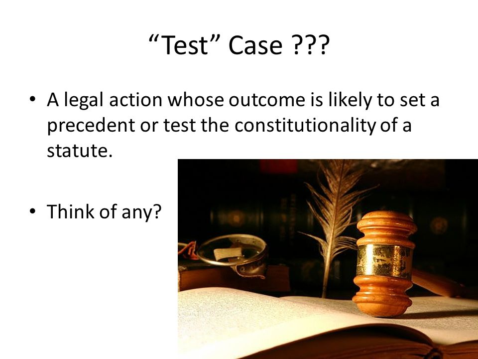 """Test"" Case ??? A legal action whose outcome is likely to set a precedent or test the constitutionality of a statute. Think of any?"