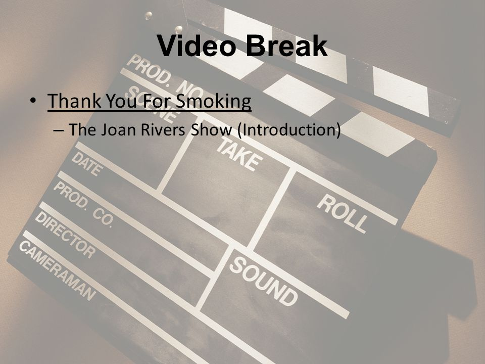 Video Break Thank You For Smoking – The Joan Rivers Show (Introduction)