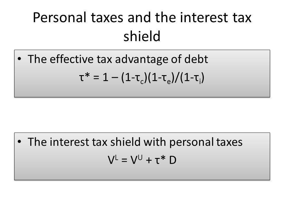 The effective tax advantage of debt τ* = 1 – (1-τ c )(1-τ e )/(1-τ i ) The effective tax advantage of debt τ* = 1 – (1-τ c )(1-τ e )/(1-τ i ) The inte