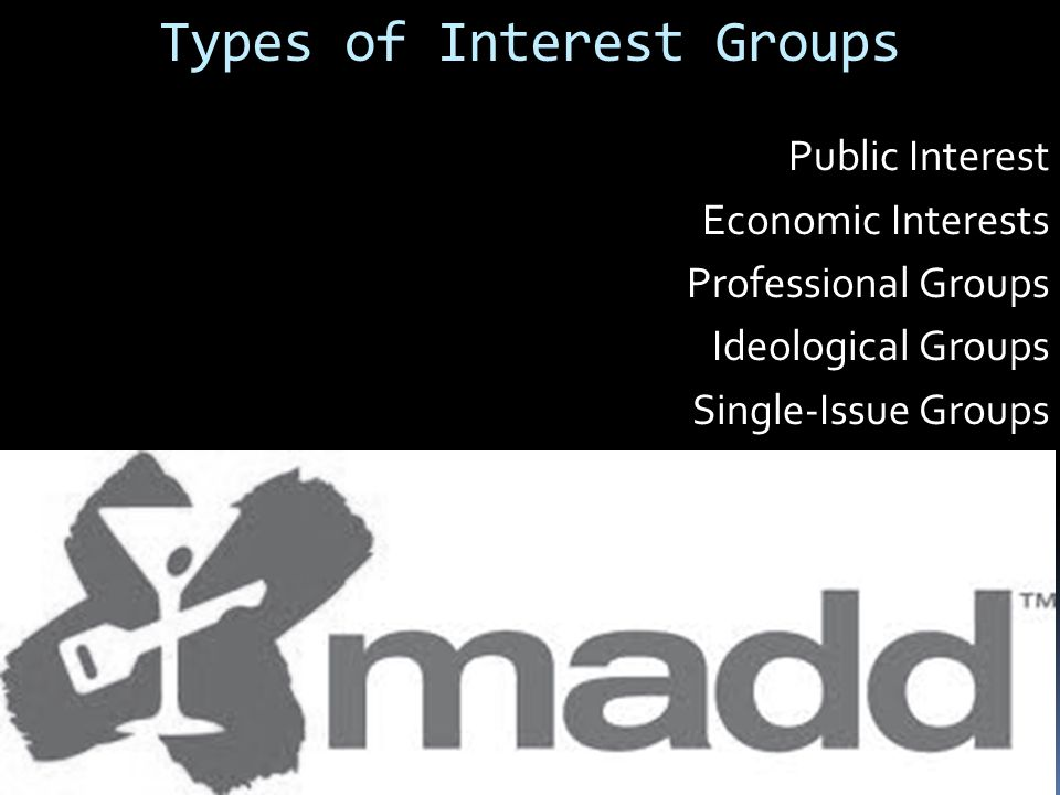 Types of Interest Groups Public Interest Economic Interests Professional Groups Ideological Groups Single-Issue Groups