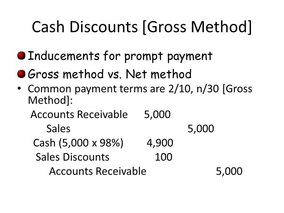 Cash Discounts [Gross Method] Inducements for prompt payment Gross method vs. Net method Common payment terms are 2/10, n/30 [Gross Method]: Accounts