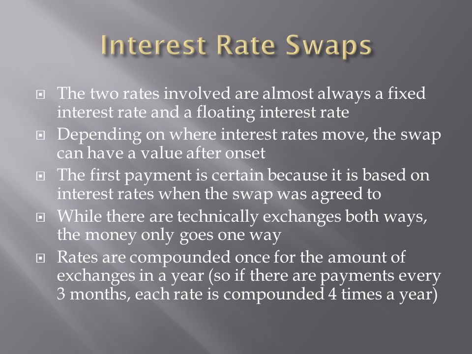  A company knows it will have to pay a floating rate of LIBOR +.03% on an 8 year loan and wants to pay a fixed rate instead  They enter a swaption contract with expiry in 2 years and an end date in 30 years  If they elect to exercise the option, a swap that ends when the loan ends will begin on that date