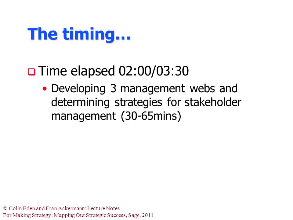 © Colin Eden and Fran Ackermann: Lecture Notes For Making Strategy: Mapping Out Strategic Success, Sage, 2011 The timing…  Time elapsed 02:00/03:30 D