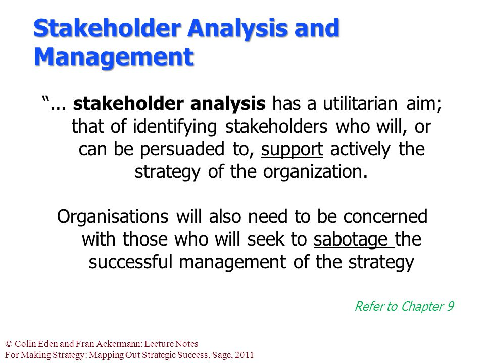 "© Colin Eden and Fran Ackermann: Lecture Notes For Making Strategy: Mapping Out Strategic Success, Sage, 2011 Stakeholder Analysis and Management ""..."
