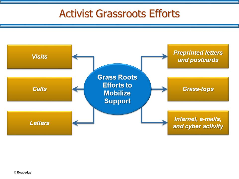 © Routledge Activist Grassroots Efforts Preprinted letters and postcards Grass-topsGrass-tops Internet, e-mails, and cyber activity Grass Roots Effort