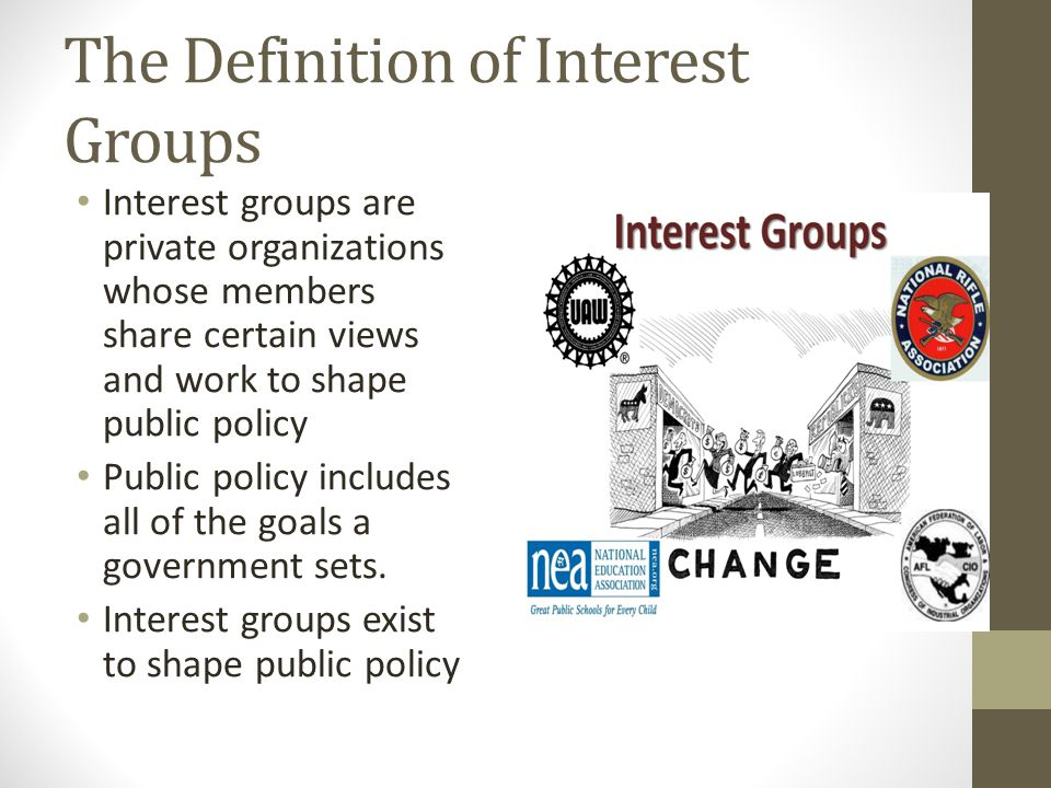 The Definition of Interest Groups Interest groups are private organizations whose members share certain views and work to shape public policy Public p