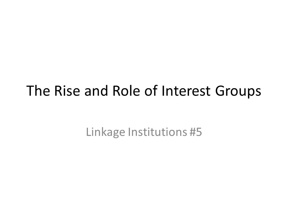 The Rise and Role of Interest Groups Linkage Institutions #5