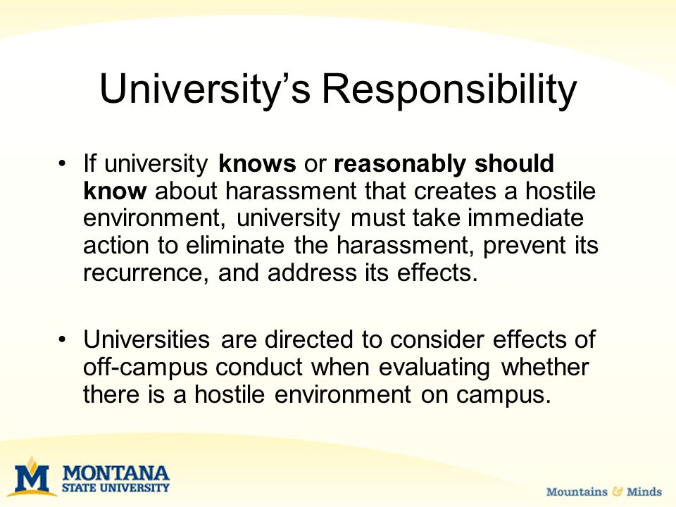 University's Responsibility If university knows or reasonably should know about harassment that creates a hostile environment, university must take immediate action to eliminate the harassment, prevent its recurrence, and address its effects.
