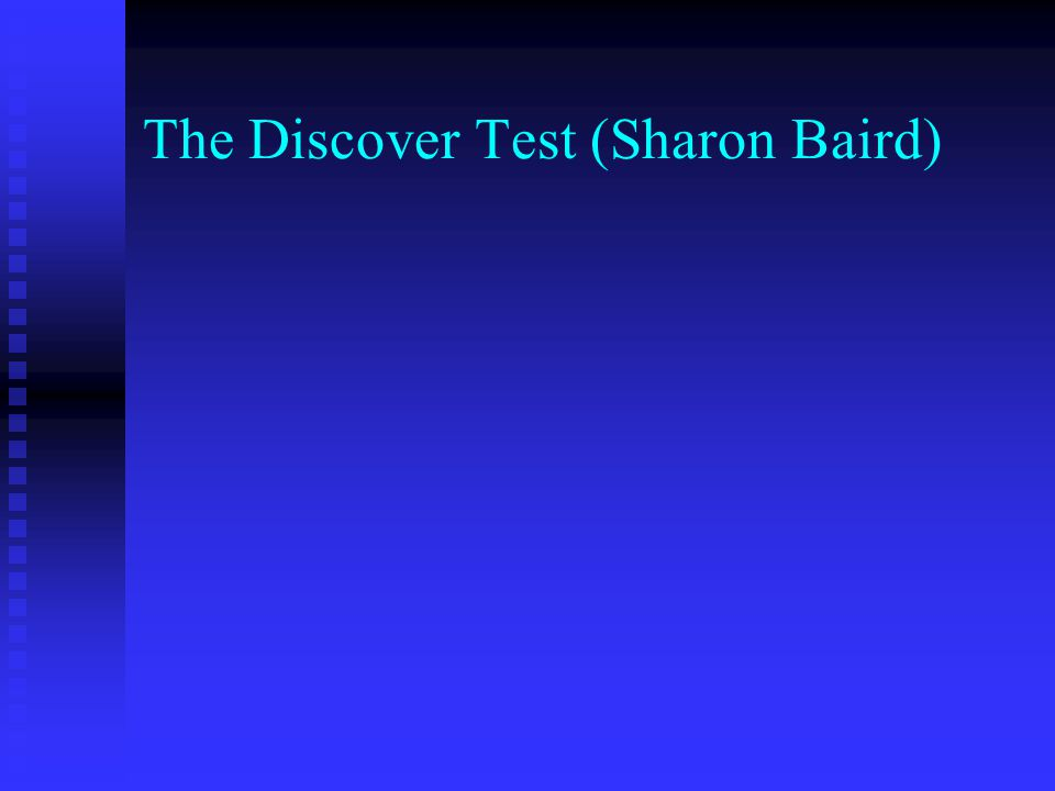 The Discover Test (Sharon Baird)