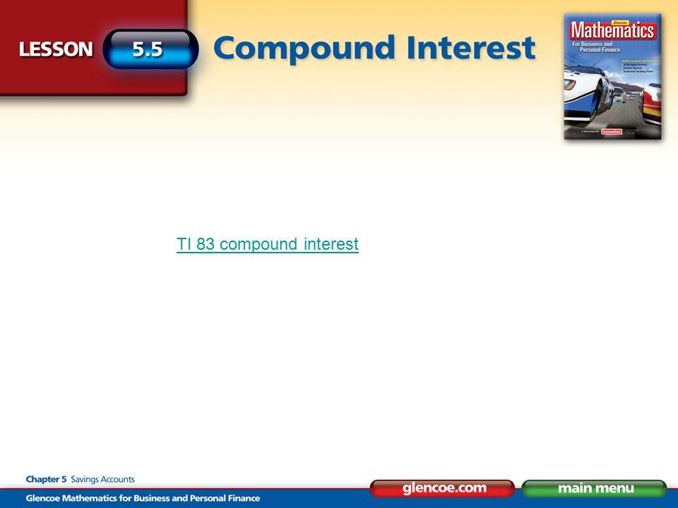 TI 83 compound interest