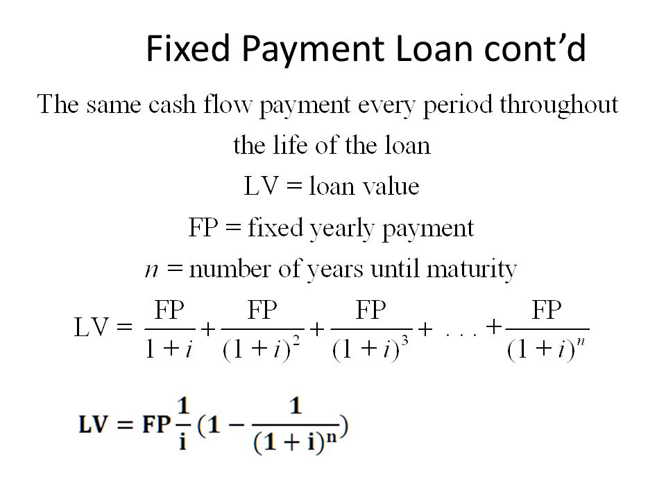 Fixed Payment Loan cont'd