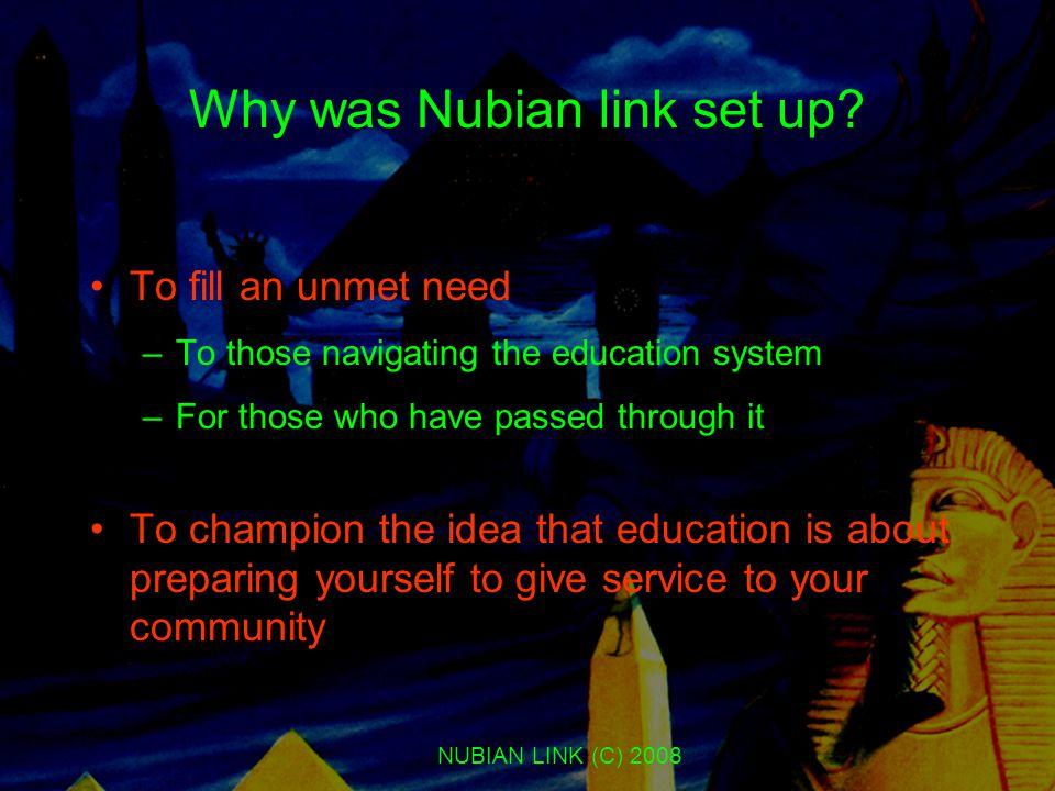 NUBIAN LINK (C) 2008 Why was Nubian link set up.