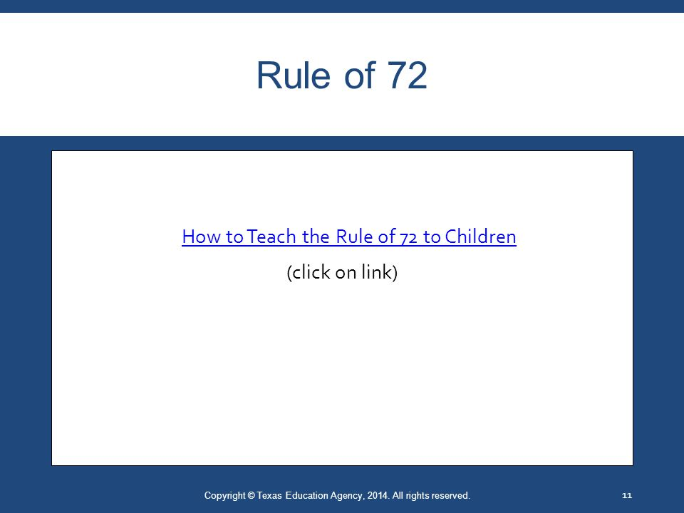 Rule of 72 Copyright © Texas Education Agency, 2014.