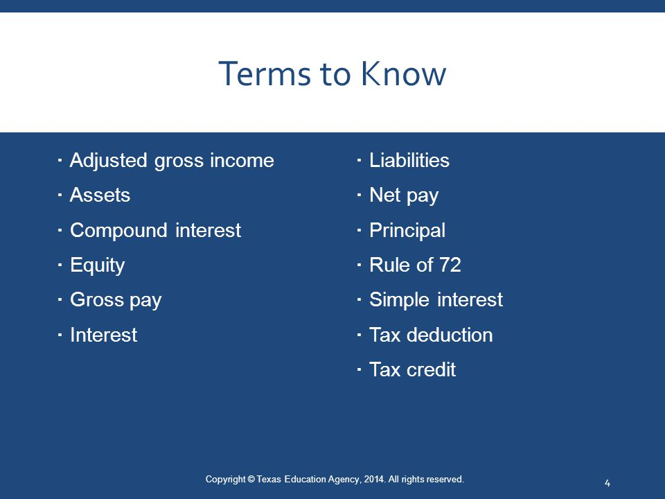 Terms to Know  Adjusted gross income  Assets  Compound interest  Equity  Gross pay  Interest  Liabilities  Net pay  Principal  Rule of 72  Simple interest  Tax deduction  Tax credit Copyright © Texas Education Agency, 2014.