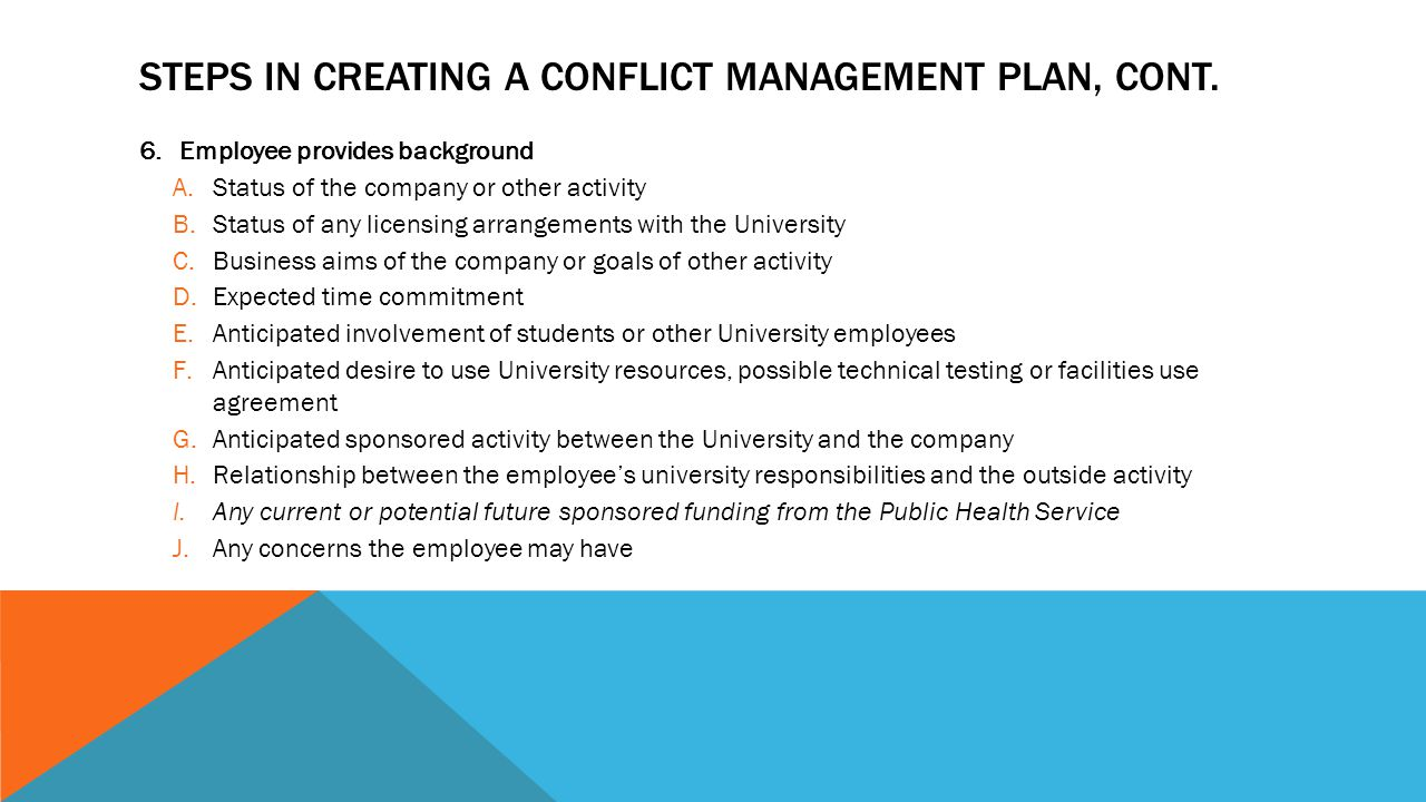 STEPS IN CREATING A CONFLICT MANAGEMENT PLAN, CONT.