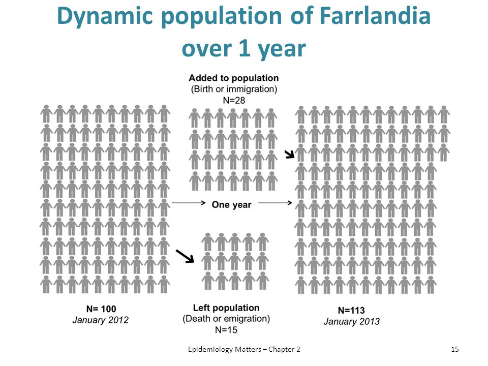Dynamic population of Farrlandia over 1 year Epidemiology Matters – Chapter 215