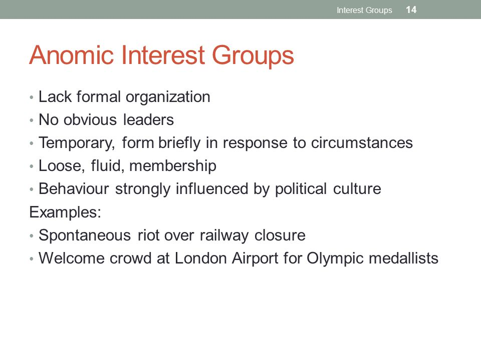 Anomic Interest Groups Lack formal organization No obvious leaders Temporary, form briefly in response to circumstances Loose, fluid, membership Behaviour strongly influenced by political culture Examples: Spontaneous riot over railway closure Welcome crowd at London Airport for Olympic medallists Interest Groups 14