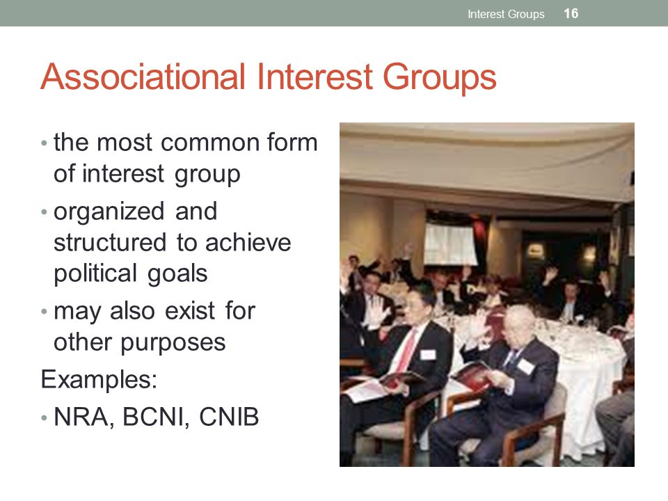 Associational Interest Groups the most common form of interest group organized and structured to achieve political goals may also exist for other purposes Examples: NRA, BCNI, CNIB Interest Groups 16